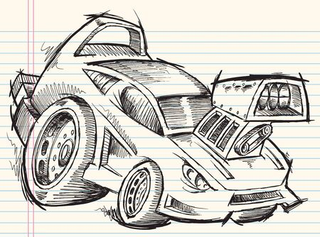 hot rod: Doodle Sketch Street Car Vector Illustration