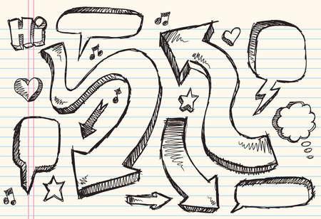 Notebook Doodle Sketch Speech Bubble Arrow Vector Illustration Set  Vector
