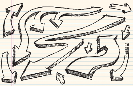sketch: Notebook Doodle Sketch Arrow Vector Illustration Set