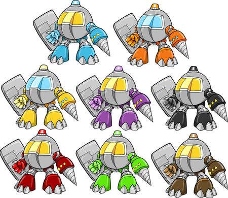 Robot Cyborg Warrior Vector Illustration Set