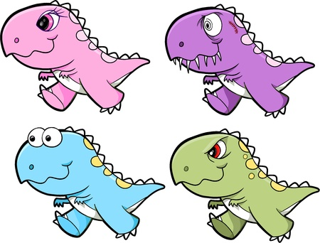 cute dinosaur: Dinosaurio Tyrannosaurus Rex lindo conjunto de Ilustraci�n Vectores