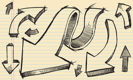 Sketchy doodle Arrows Vector Illustration Set