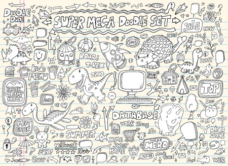 Doodle Speech Bubble Design Elements Mega Vector Illustratie Set