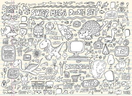 bull shark: Doodle Speech Bubble Design Elements Mega Vector Illustration Set