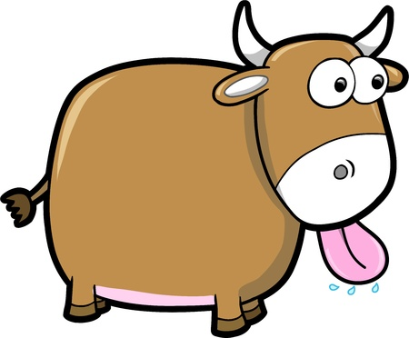 goofy: Goofy Happy Bull Cattle Animal Vector Illustration Art
