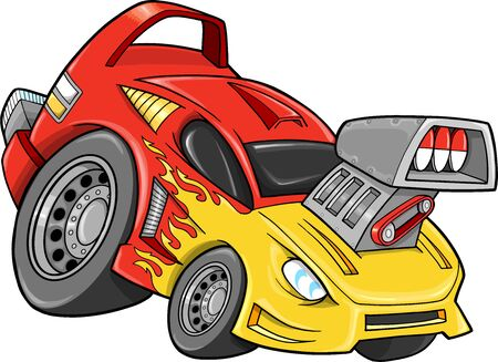 hot rod: Race Car Street Car Vehicle Vector Illustration art
