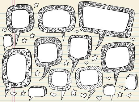 groovy: Doodle Groovy Speech bubble Vector Illustration Set
