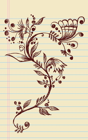 Sketchy Doodle Elegant Flowers and Vines Hand Drawn Vector Illustration Design Elements Vector