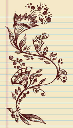 hand drawn flower: Sketchy Doodle Elegant Flowers and Vines Hand Drawn Vector Illustration Design Elements