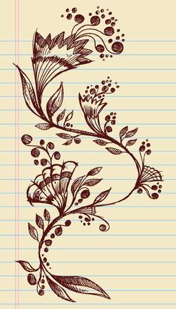 Sketchy Doodle fleurs élégantes et Vines Hand Drawn éléments Illustration Vecteur de conception Banque d'images - 12852107
