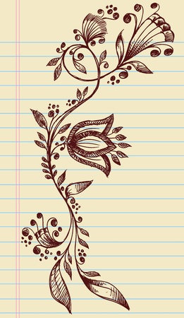 henna background: Sketchy Doodle Henna Elegant Flowers and Vines Hand Drawn Vector