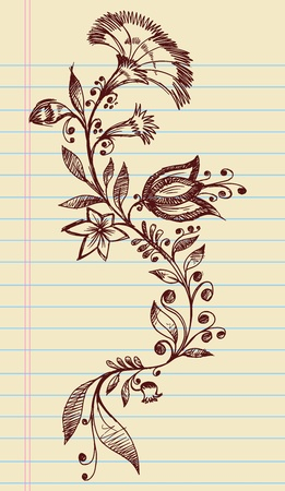 Sketchy Doodle Henna Elegant Flowers and Vines Hand Drawn Vector  Vector