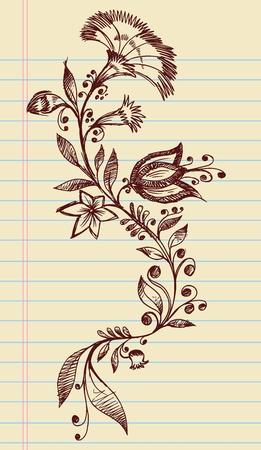Sketchy Flores Henna Doodle elegantes y vides Dibujado a mano Vector Foto de archivo - 12852098