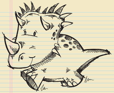 triceratops: Triceratops Dinosaur Doodle Sketch Vector Illustration