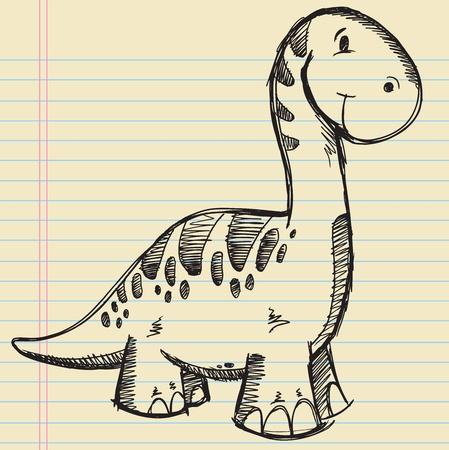 Dinosaur Doodle Sketch Vector Illustration  Vettoriali