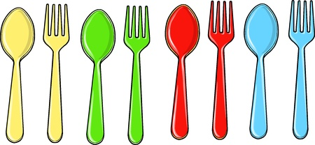 Spoon and Fork Vector Illustration Set  イラスト・ベクター素材
