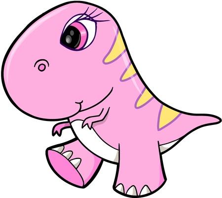 Dino: Cute Girl Pink Dinosaur Animal Vector Illustration Art