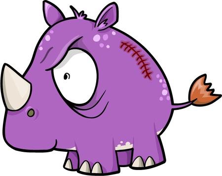 insane: Crazy Insane Rhinoceros Animal Safari Vector Illustration  Illustration