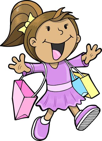 Happy Cute Shopping Girl  Vector