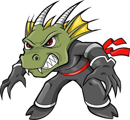 Warrior Ninja Dragon Lizard Vector Illustration