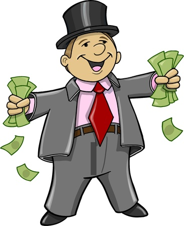 the fat man: Rich Business Man with money Vector Illustration
