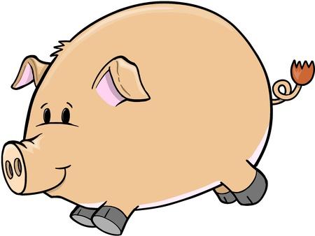 Cute Farm Pig Vector Illustration Art