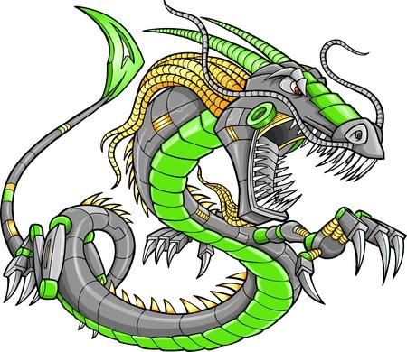 tattoo traditional: Robot Cyborg Drago Verde illustrazione vettoriale arte Vettoriali