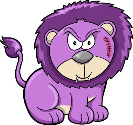 undomesticated: Cute Angry Safari Lion Vector Illustration