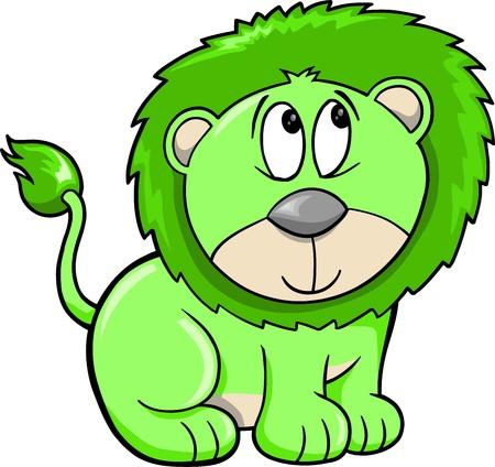 Cute Shy Safari Lion Vector Illustration