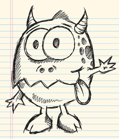 Crazy Insane Sketch Doodle Wild Monster Vector Illustration cartoon character