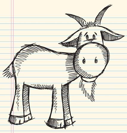 goat horns: Doodle Sketch Goat Vector Illustration