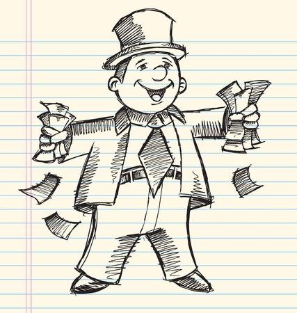 Doodle Sketch reichen Geschäftsmannes Vector Illustration Standard-Bild - 13110916