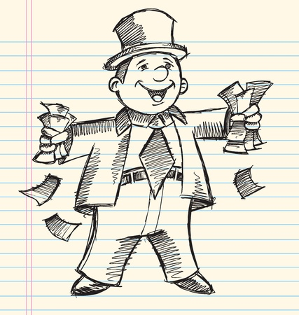 Doodle Sketch Rich Business Man Vector Illustration