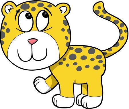 Shy Cute Leopard Vector Illustration Cartoon Art