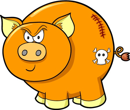 Tough Angry Farm Pig Vector Illustration Art