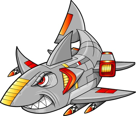 Metal Armed Robot Cyborg Shark Vector Illustration  Vettoriali