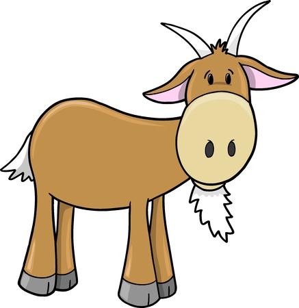 goat horns: Cute Farm Goat Vector Illustration