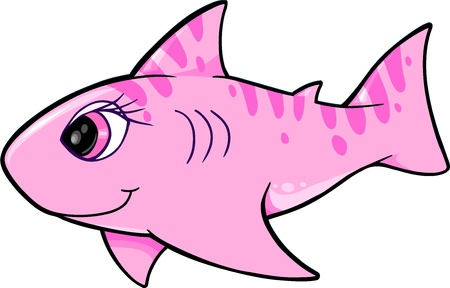 Cute Shark Vector Illustration Vettoriali