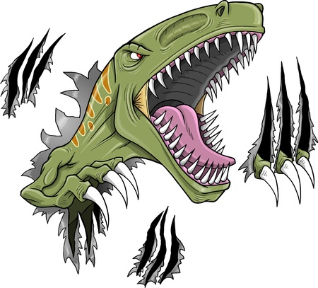 tearing: Velociraptor Dinosaur Vector Illustration
