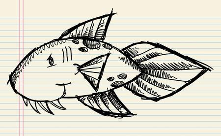 Sketch Doodle Fish Vector