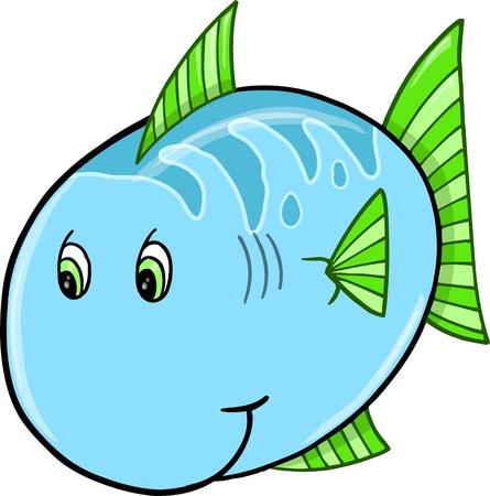 Cute Blue Fish  Ilustrace