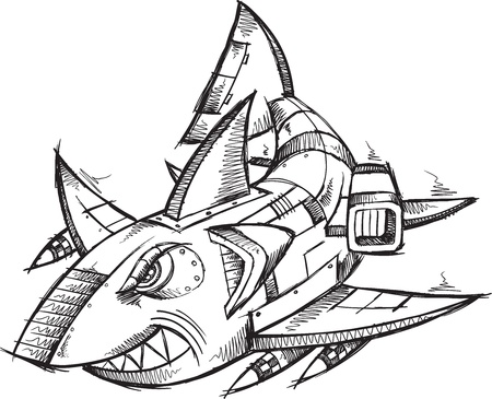 Sketch Doodle Robot Cyborg Shark