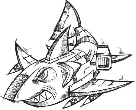 Sketch Doodle Robot tiburón Cyborg