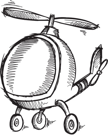 Cute Doodle Sketch Helicopter   イラスト・ベクター素材