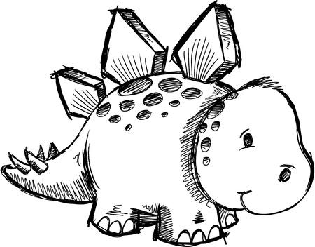 stegosaurus: Stegosaurus Dinosaur Sketch doodle Vector
