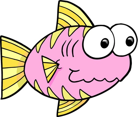 Goofy Pink Fish Vector Illustration