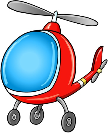 Cute Doodle Cartoon Helicopter Vector Illustration