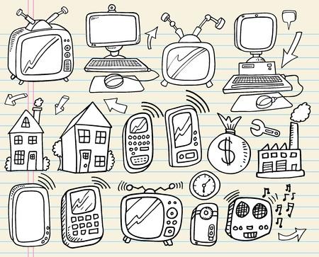 home video: Doodle Electronics Work Business Technology Design Vector Set