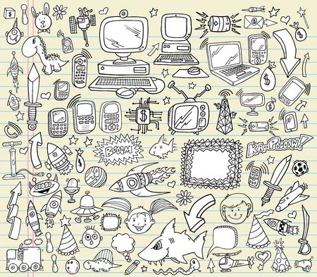 Notebook Doodle Design Elements Vector Illustration Set   イラスト・ベクター素材