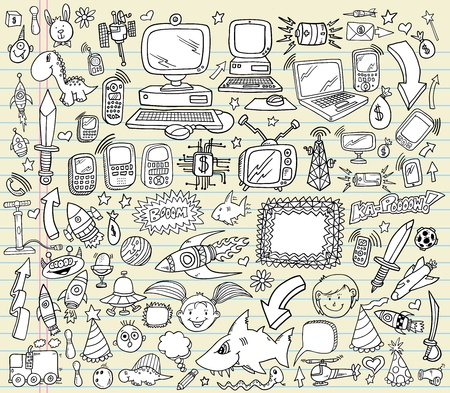 Notebook Doodle Design Elements Vector Illustration Set  Vettoriali